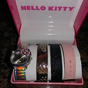 BRAND NEW HELLO KITTY WATCH WITH 4 BANDS